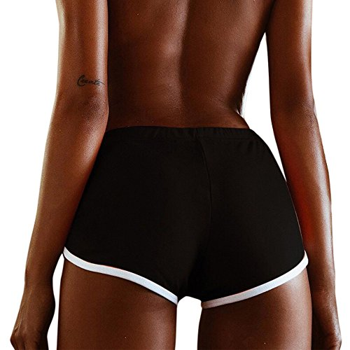 Lilicat Damen Sommer Kurze Hose Sport Short Keuchen Mini Shorts Hot Pants Clubkleidung Jeansshorts Basic Lässige Kurze Hose Shorts für Den Strand Retro Velours Shorts (S, Schwarz) (Velour Bekleidung)