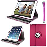 iPad Air 2 Case Cover 360 Rotating (New 2014 iPad 6th Generation) Hot Pink Premium PU Leather 360 Degree Rotating Stand Smart Case Cover Skin 2 Card Slots for Apple iPad Air 2 with Built-in Magnetic Auto Sleep Wake Feature, EXTRA Gift: SAVFY Stylus Pen + SAVFY Screen Protector Film (Available in Multiple Colors)