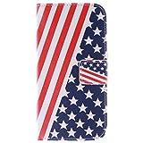 Moonmini Für HTC One M9 Hülle reg; American Flag Pattern Falte Standplatz Fall Abdeckung Flip Folio Mappen Karten Slots mit magnetischem Schliessen Für HTC One M9