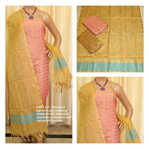 Avni Fashion CHANDERI TOP WITH JUTE WEAVING TEAMED WITH BEAUTIFUL WOVEN JUTE...