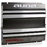 auna AB-250 CAR HiFi Verstärker Endstufe (Leistung: 1.200W max., Hoch- und Niedrigpegel-Eingänge, regelbarer Tiefpass-Filter, Frequenzbereich: 20 Hz bis 20 kHz, Impedanz: 4 bis 16 Ohm, brückbar) grau-silber
