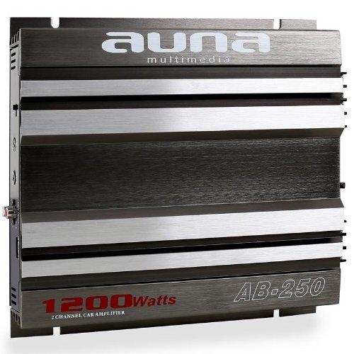 Auna AB-250 Amplificador coche de 2 canales (1200 W de potencia, material montaje incluido, chasis pulido, diseño metal)