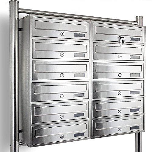 Edelstahl Stand-Briefkastenanlage Postkasten Letterbox Mailbox Doppelt mit 12 Fächer