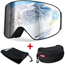 [Oferta] Gafas de Esquiar, HAMSWAN Gafas de Esquí Anti-Niebla Anti-Vaho, con Doble Lente Dorada Filtro UV400, Gafas OTG (Over the glasses) Polarizadas para Deportes como Esquí, Ciclismo, Windsurfing