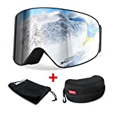 Gafas de Esquiar, [Regalo] HAMSWAN Gafas de Esquí, Anti-Niebla, Sking Goggles, Lentes Dobles Dorados UV400 OTG, Sunglasses Polarizadas, Lente Desmontable para Esquiar Ciclismo Windsurfing