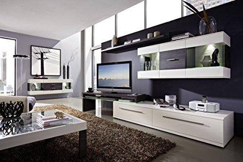 Design Wohnwand 4-teilig, mit Glasvitrinen, – Weiß Mattlack / Esche Grau Nachbildung, Soft Close-Dämpfung, Selbsteinzug, Wohngalerie Zerlegt - 2