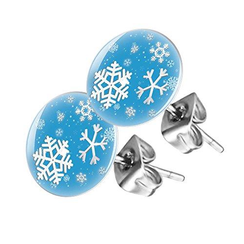 Piersando® Ohrstecker Ohrringe Rund mit Schneeflocken Motiv (12 Tage Weihnachten Kostüm Ideen)