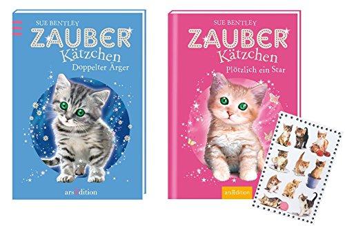 arsEdition: Zauberkätzchen - Doppelter Ärger + arsEdition: Zauberkätzchen - Plötzlich ein Star - SET + Kätzchen-Sticker (Auch Niedliche Kätzchen)