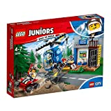 LEGO10751 Juniors Mountain Police Chase Building Set, Toy Police Station Helicopter and Bike, Fun Build and Play Sets for Kids 4-7