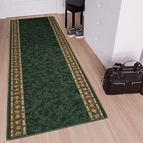 Tapiso Anti Rutsch Teppich Läufer Rutschfest Brücke Meterware Grün Gelb Ornament Design Meliert Flur Küche Wohnzimmer 67 x 160 cm