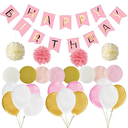 Decoración de fiesta Globos Decoraciones de cumpleaños Suministros para fiestas Bunting Banner Tissue Paper Pom Pink Paper Flowers Garland para niñas en rosa Rainbow Paper Garland (Rosa)