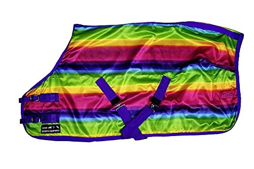 HKM Sports Equipment HKM Fliegendecke -Rainbow- mit Kreuzgurt, Bunt, 105