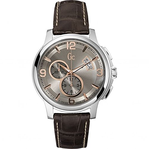GUESS COLLECTION X83009G1S GENTS BROWN CALFSKIN 44MM STAINLESS STEEL CASE WATCH