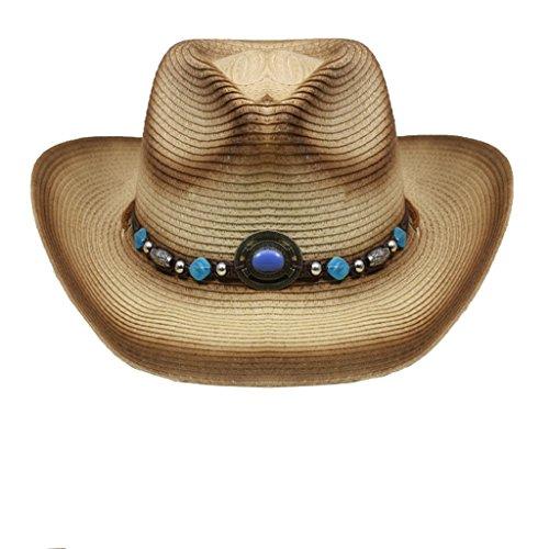 Chapeau de paille Cowboy Western Hat Strohhut DISTRESSED PINCH ZZP HAT-041 (L/XL) (MARON-BEIGE)