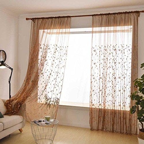 Sunlera Traslucido Garza Foglia di Salice cieco Ricamato Voile Curtain Tulle Finestra Drapery Sheer Tende Camera Organza