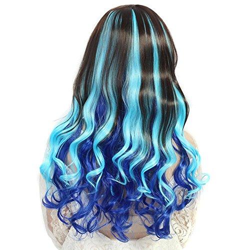 XYLUCKY Welle Perücke Kappen schräg Pony und dunkelbraune Himmelblauen Saphir blaue Farbe Farbverlauf (Kappe Dunkelbraune Perücke)