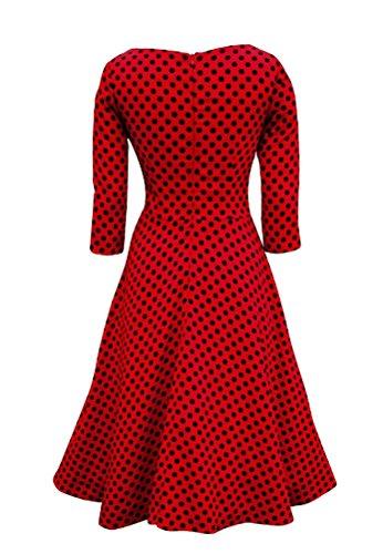 Arkind Femme Robe Vintage 1950's Hepburn Robe Soirée Cocktail Bal Style Années 50 Rockabilly Swing Rouge