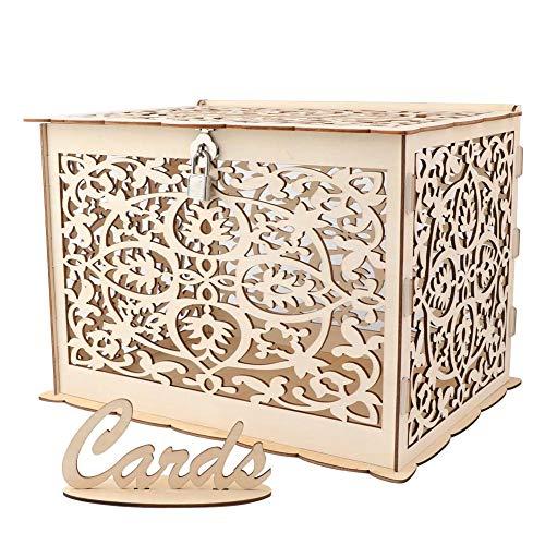 TBhappy rustikale hohle Hochzeitskartenbox aus Holz mit Schloss und Kartenschild für Hochzeit und Babyparty