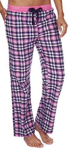 Forever Dreaming Damen-Schlafanzughose aus kariertem Flanell  Gr. Large, rose (Damen Flanell Lounge-hose)