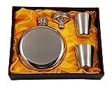 150 ml Rund-Flachmann-Geschenkset mit zwei Schnapsgläsern und Trichter in einer schwarzen Geschenkbox