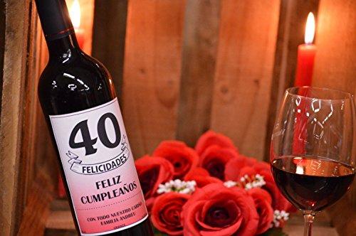 Botella de vino rioja personalizada 40 cumpleaños con tu foto, texto o imagen
