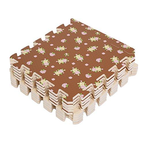 9 Stück Geruchlos Bukolische Baby Shaum Teppiche EVA Spielmatte Spielteppich Schaumstoffmatte 30x30CM (Braun)
