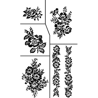 Armour Etch Stencil Rub N Etch Stencil, Floral, 5-Inch by 8-Inch by Armour Etch Stencil