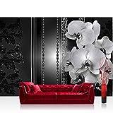 Fototapete 368x254 cm PREMIUM Wand Foto Tapete Wand Bild Papiertapete - Orchideen Tapete Blumen Blüten Orchideen Perlen Kunst schwarz weiß - no. 2636