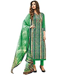 Like A Diva Beautiful Green Cotton Printed Salwar Suit Dress Material for Women