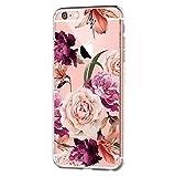 Cover iPhone 6S Plus, Cover iPhone 6 Plus, Morbido Trasparente Silicone con Disegni TPU Bumper con Protettiva Custodia Trasparenti Posteriore per iPhone 6 Plus/iPhone 6S Plus (fiore1)