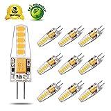 Yuiip G4 LED Warmweiss 2800K 2W LED g9 Lampen, Ersatz für 20W Halogenlampen, LED Birnen10X 2835 SMD,12VAC/DC ,360° Abstrahlwinkel 200LM-10er Pack [Energieklasse A++]