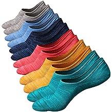 Ueither Calcetines de hombre antideslizantes de algodón de corte bajo
