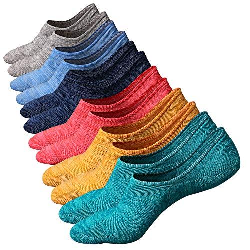 Ueither Calcetines de hombre antideslizantes de algodón de corte bajo (Tamaño: 38-44, Color 3 (6 pares))