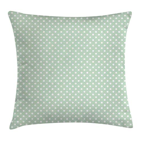 White Almond Bath (ZTLKFL Mint Throw Pillow Cushion Cover, Retro Polka Dots Motif with Little Circle Round Shapes Elegance Vintage Design, Decorative Square Accent Pillow Case, 18 X 18 Inches, Almond Green White)