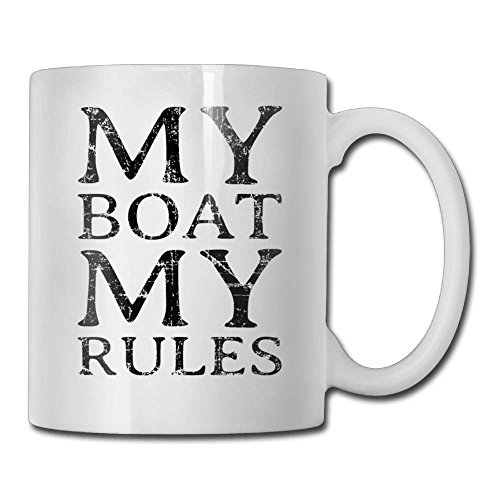 LESKETH My Boat My Rules Coffee Mug 11 Oz Womens Husband Ceramic Gifts Tea Cup A for Your Family and Friends