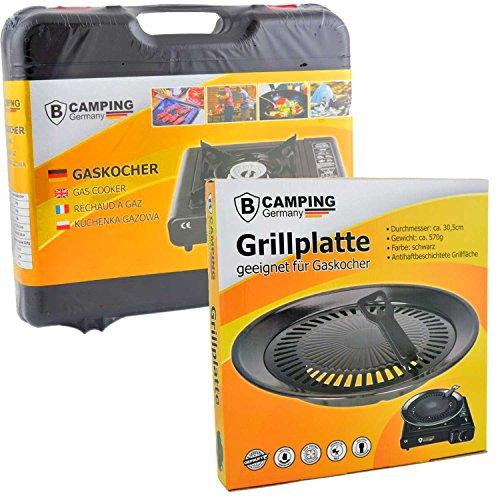 Campingkocher Gas mit Grillplatte 1-flammig max. Leistung 2,5 KW Grillaufsatzufsatz (Tragbare Gas-grill Outdoor)