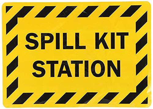 Spill-station Kit (qidushop Neuheit Schild Spill-Kit Station Schwarz auf Gelb Wand Decor Metall Aluminium Schild Einzugs Presents 25x 35cm)