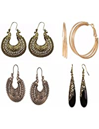 Efulgenz Jewellery Combo Of Fancy Party Wear Oxidised German Silver Earrings And Dangler Earrings For Girls And...