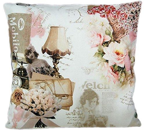 Kissenhülle 40 x 40 cm Tamara - Vintage Nostalgie Baumwolle Kissenbezug Cushion Case Hossner (40 cm x 40 cm) -