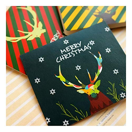 ZHOUBIN Antlers innovative Biglietti di auguri natalizi piegatura creativa tre stili Benedizioni compleanni gratitudine 4 fogli set