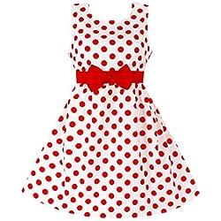 YFCH Vestido Vintage Retro 50s Estampado para Niñas Vestido de Lunares Clásico A-Línea con Bowknot para Fiesta Casual, Rojo, 120/5-6 años
