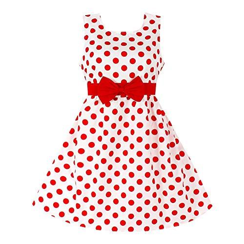 YFCH Vestido Vintage Retro 50s Estampado para Niñas Vestido de Lunares Clásico A-Línea con Bowknot para Fiesta Casual, Rojo, 110/3-4 años