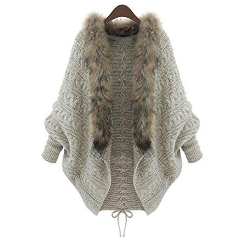 Damen Sweatshirt Mantel LUVERSCO Lose Pelz Halsband Sweatshirt Batwing Ärmel Stricken Strickjacke Pelz Halsband Mantel (Schal Lange Logo Stricken)