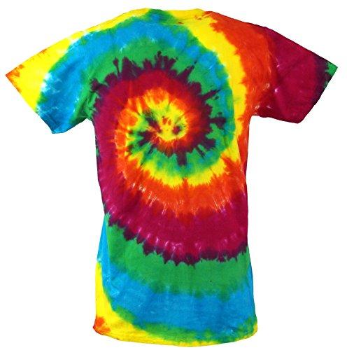 Guru-Shop Regenbogen Batik T Shirt, Herren Kurzarm Tie Dye Shirt, Baumwolle, Rundhals Ausschnitt Alternative Bekleidung Spirale 3