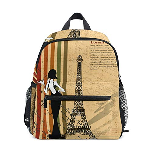 Zaino per bambini Borsa per scuola materna Parigi retrò per ragazzi