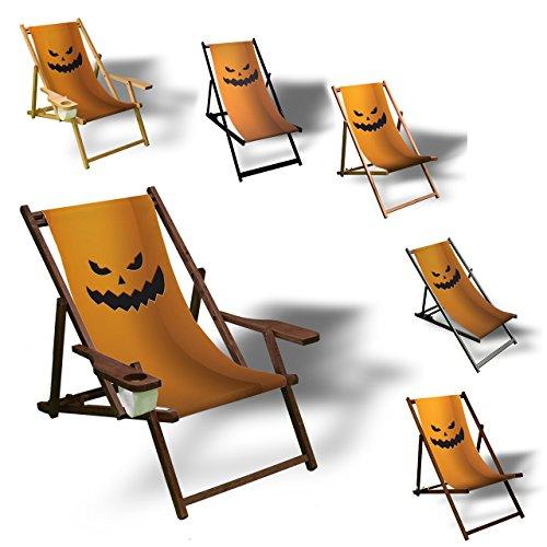 Halloween Kuerbis - Liegestuhl bedruckt Balkon Garten Sonnenliege Relax Holz Terrasse, Variante:ohne Armlehne. (Zeugs Halloween Für)