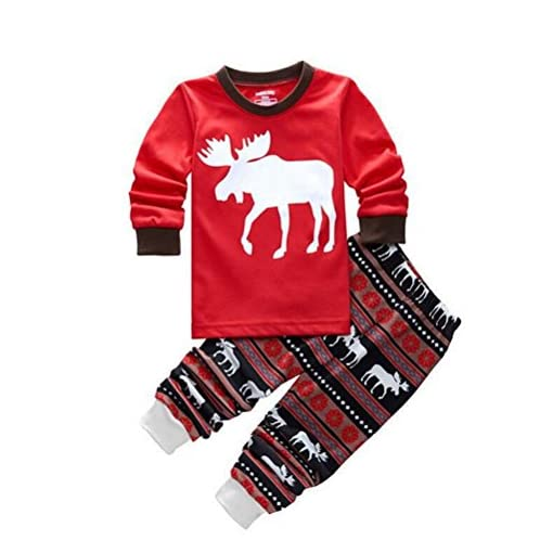 OULII-Cervo-a-strisce-pigiameria-famiglia-Matching-Natale-pigiama-per-bambino-abiti-Costume-regalo-di-Natale-bello-dimensione-7T