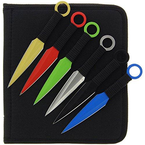 g8ds 12 teiliges buntes Wurfmesser-Set Multicolor gelb rot grün blau Silber schwarz