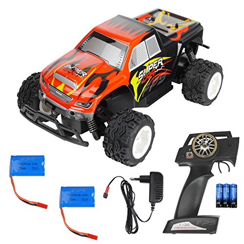 FPS RTR Bundle: Rayline R24B, Stabiler RC 2.4G Monstertruck Buggy 1:24, Schwarz-Rot, ferngesteuert, Pistolenfernbedienung, bis 25 kmh, + 2x 6,4V 320mAh Li-Ion Akku + 4x AA Batterien