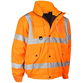 Mamanji Hi Vis Viz Security Safety Bomber Jacket Construction Storm Padded Waterproof Road Works Fluorescent Flashing EN471 Concealed Hood Quilted High Visibility Reflective (Orange, Large)